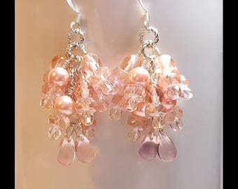 Antique Rose Pink Crystal Pearl Bridal Wedding Earrings