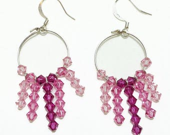 Pink Rose Fuchsia Crystal Hoop Beaded Earrings