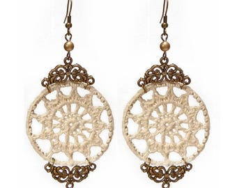 Earrings long large white crochet lace ecru decor gold bronze