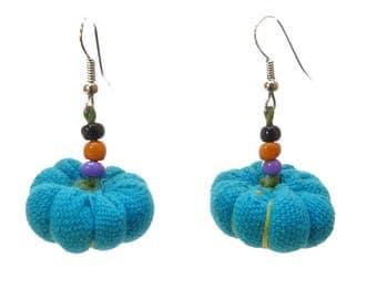 light blue pumpkin, multicolored seed beads earrings