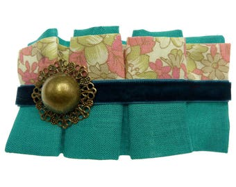 Clip type clip hair barrette bronze fine pleated blue green fabric floral velvet and decor