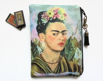 Mum gifts, Frida Khalo, mexican, sewing pouch, zipper wallet, cometic bag, zipper wallet, small storage bag.