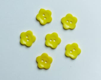 set of 6 flower buttons * yellow * 1.2 cm plastic
