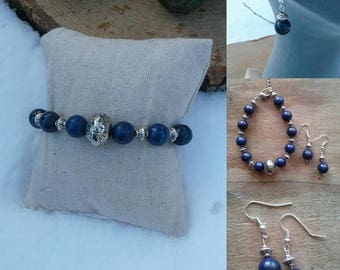 Sodalite jewellery set with large Bali bead