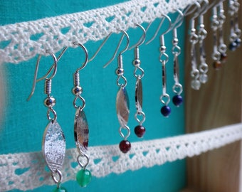 Earrings martellees and etched, silver