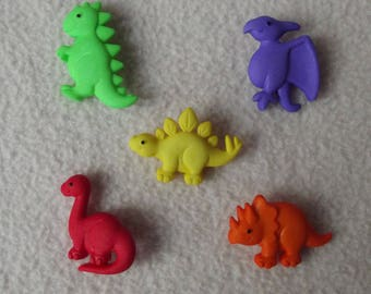 PREHISTORIC PETS ~ Dress It Up Buttons ~ Colourful Dinosaurs