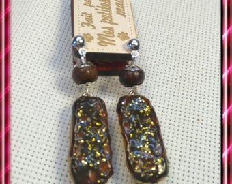 These earrings in polymer clay chocolate lightning