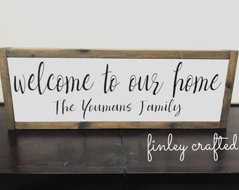 Welcome to our home painted wood sign personalized family name housewarming gift wedding gift | modern farmhouse wooden family name sign