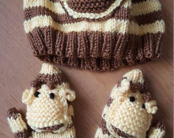 Toddler-Giraffe Scarf, Cap and Mittens