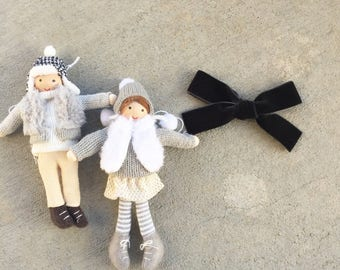 Dark grey / black, Hand tied velvet bow or piggy tail set for babies, toddlers and little girls in CHARCOAL