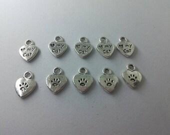 10 x Love My Cat Charms Pawprints