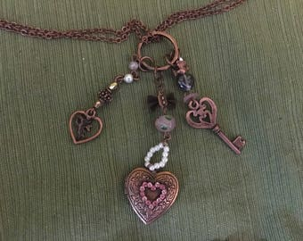 Copper toned Heart Charm Necklaces (2)