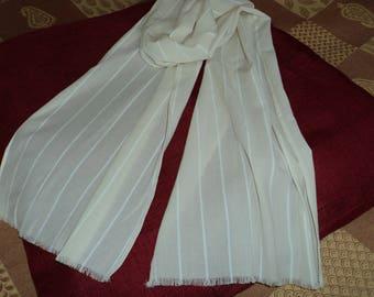 Scarf for men or women fine scarf mens polyester of ecru color cotton veil