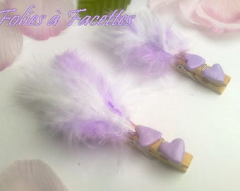 10 marks places clip in wood and mauve hearts and feather duo