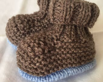 Acrylic birth-3 months Brown hand knitted baby booties