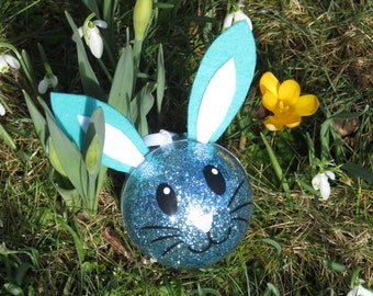 Easter Bunny Blue decoration for Easter, Easter tree, Bunny, personalized with name,