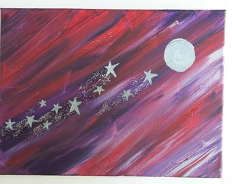 Gorgeous sweep of space, and glittery stars. Acrylics on canvas