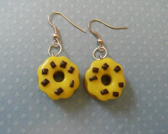 YELLOW POLYMER CLAY DONUT EARRINGS