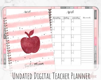 Sun-Thu Undated Digital Teacher Planner for iPad plannning with Goodnotes | With Functioning Tabs | Teacher Lesson Planner | Digital Planner