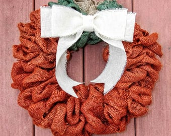 Pumpkin Wreath, Pumpkin Burlap Wreath, Fall Wreath, Halloween Wreath, Thanksgiving Wreath, Autumn Wreath,Rustic Pumpkin Wreath,Burlap wreath