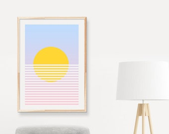 Sunrise & Sunset Over The Ocean - Download Printable Minimalism Wall Art