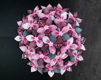 Example set 23 Flower Bouquet origami paper dark grey and pink with 2 4 flowers