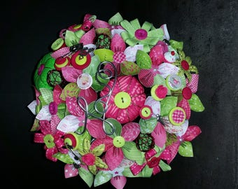 Example set Bridal Bouquet green lime and fuchsia 15 paper flowers and fabric embellishment and wire with a bouquet