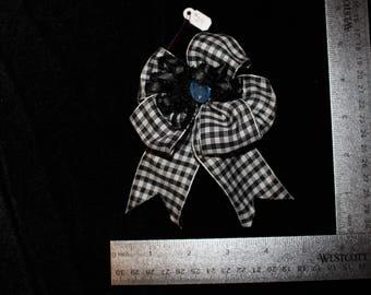 Black Checkered Hair Bow