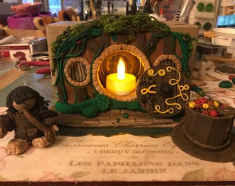 Lord of the Rings/Hobbit House with Frodo Polymer Clay