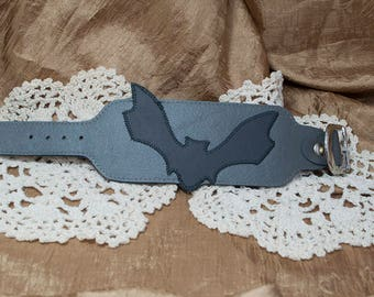 Uniquely Hand-Crafted Gray Leather Cuff Bracelet with GunMetal Bat Design
