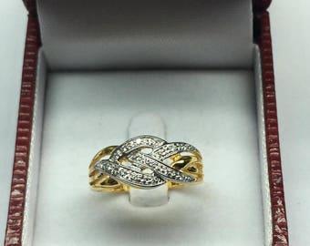 Ring with Diamond 9kGold,16 Diamonds,0.08 Carat