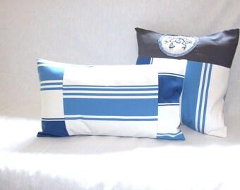Housse de coussin 50 x 30 cm, taie d'oreiller, patchwork, tissu à rayures bleues et beiges