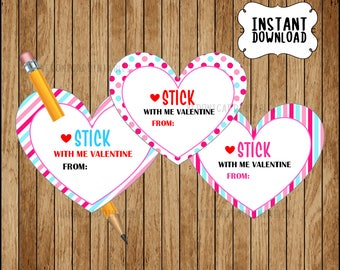 Pencil Valentine Printable Heart For Pencil Or Pen Non Candy Valentine  Simple Instant Download Classroom Valentines