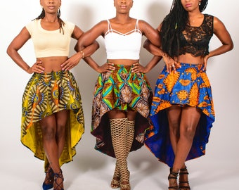 African Print High Low Skirt