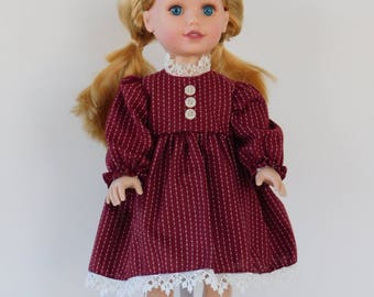 Handmade 18 in doll dress, vintage fabric with antique lace.