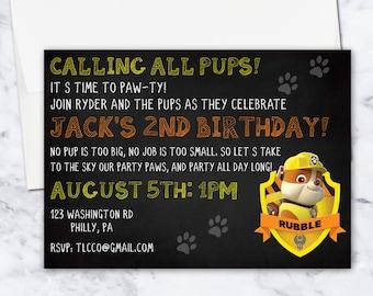 Rubble Paw Patrol Birthday Invitation, 5x7, Gender Neutral, Orange, Yellow, Black, Digital Download