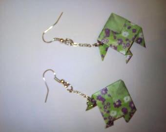 Pair of earrings (origami fish earrings) origami fish