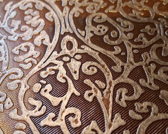 Coupon of faux Baroque metal Brown effect patterns (05.69.30-i. c) Brown and silver antique beautiful coupon for creating accessory bag