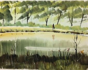 Original Watercolor Landscape Painting - Reflections