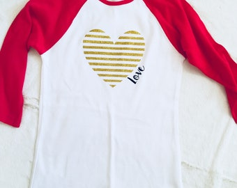 Glitter Heart Valentine Shirt/Womens Baseball Tee/Love/Red/Pink