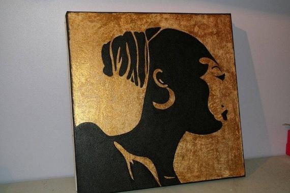 Peinture chignon 40x40cm for Peinture sur soie facile