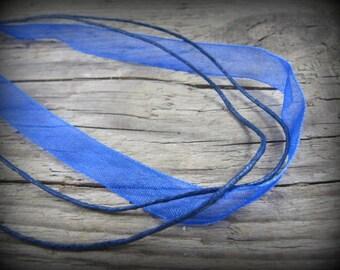 1 organza Choker blue 3mm - 45 cm