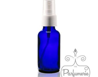 Set of 2: Cobalt Blue Glass 1 oz./30 ml Fine Mist Atomizer Essential Oil Perfume Cologne Refillable AROMATHERAPY SPRAY