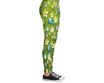 Yogi & Pie Flowers And Mockingbirds Yoga Leggings