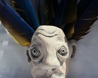 Ceramic Face with Feathers - Wall Mount