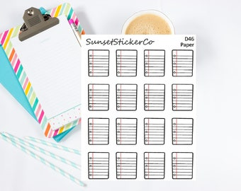 Lined Paper/Notebook Paper Clipart Stickers (D46)