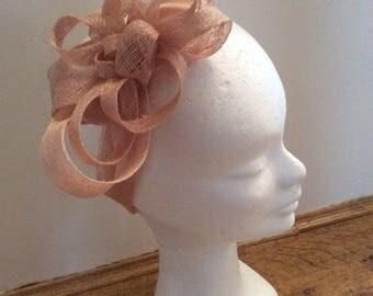 Emilienne - headband - headband of ceremony beige nude pink