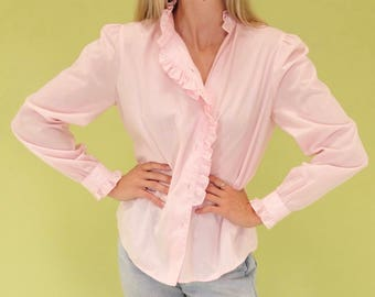 Lovely pastel pink vintage button up with ruffle SIZE S