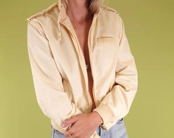Amazing palest yellow / tan vintage cotton blend bomber jacket SIZE S