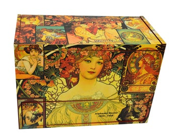 Egyptian decorative box homage to Alfons Mucha